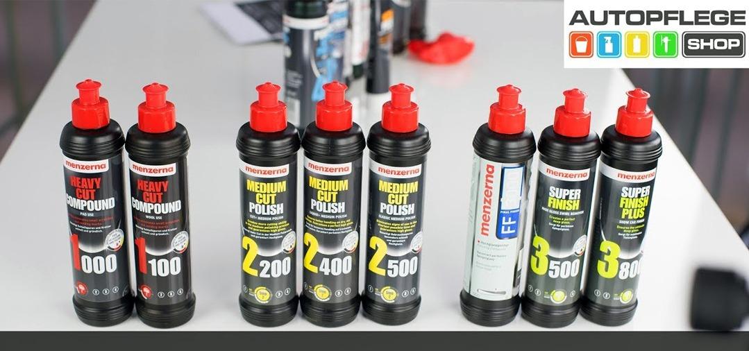 La gamme complète des polishs Menzerna : du polish de cutting pour la correction de gros défauts au polish le plus fin pour la finition
