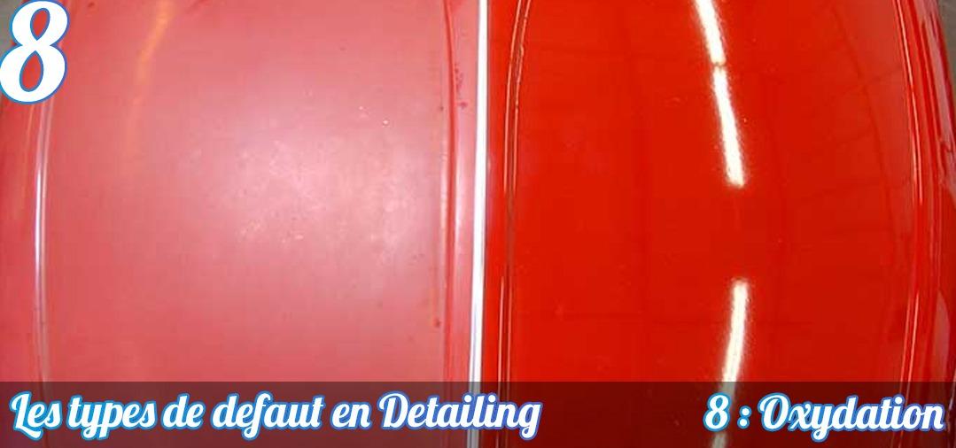 Voici le résultat de l'oxydation d'un capot de VW Coccinelle MK1. La peinture rouge est totalement ternie et sans éclat. Son aspect est rèche. A droite, la surface a été polie et on retrouve un éclat correct pour une peinture cet age !