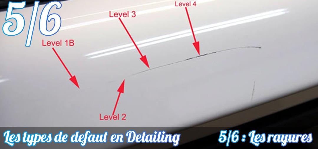 Différentes profondeur de rayures sont possibles. Elles sont ici caractérisées en niveau, le plus léger touchant la couche supérieur du vernis jusqu'à la plus profonde, touchant le panneau de carrosserie lui même, au métal !