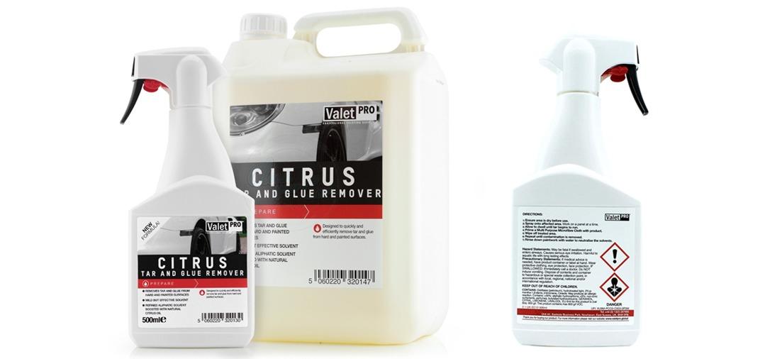 Le Valet Pro Citrus Tar & Glue Remover est un produit dégoudronnant pour les jantes et la carrosserie