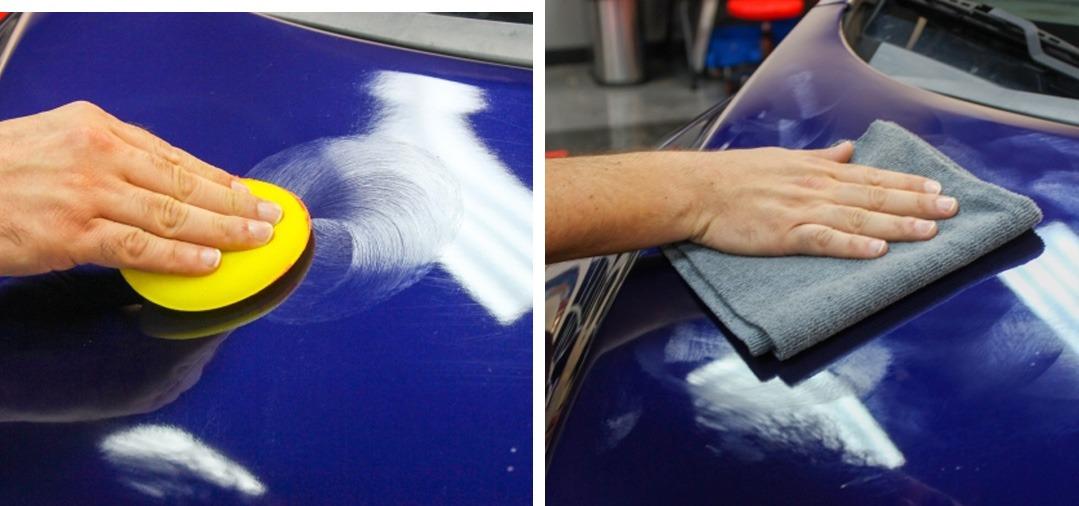 l'application de le cire de carnauba sur un panneau de carrosserie se fait en formant de petits cercles