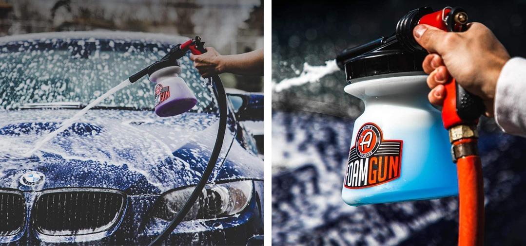 Le Canon à mousse (Foam Gun) se connecte directement sur votre tuyau d'arrosage et permet d'avoir une mousse tout à fait correcte pour un pré lavage d'entretien.
