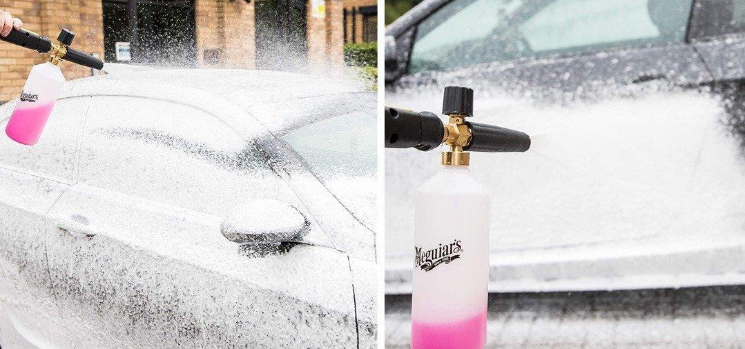 Avec l'Agent moussant présent dans le réservoir, la FOAM LANCE peut également être utilisée avec un Shampoing pour une action de lavage encore plus impressionnante lors du pré lavage